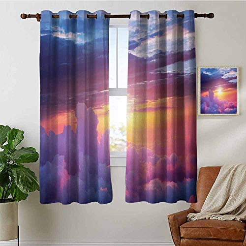 petpany Bathroom Curtains Landscape,Sunset Scene with Sky and Clouds with Vibrant Colors Lights and Shadows,Blue Yellow Purple,Room Darkening Waterproof Curtains for Bathroom -
