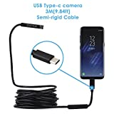 Dylviw 3 Meter(9.84ft) Rigid Cable USB C Endoscope Type C Borescope Inspection Camera 2.0 Megapixels HD Snake Camera for New Android Samsung Galaxy S8, S8 Plus, Google pixel, Nexus 6p, Huawei V9