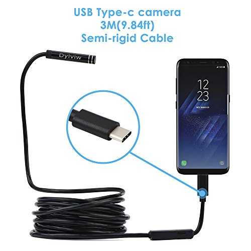 Dylviw 3 Meter(9.84ft) Rigid Cable USB C Endoscope Type C Borescope Inspection Camera 2.0 Megapixels HD Snake Camera for New Android Samsung Galaxy S8