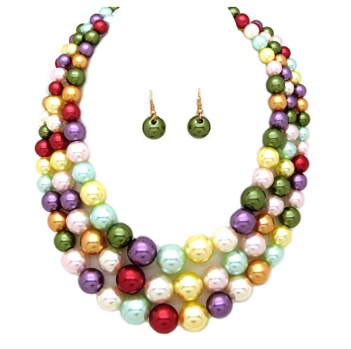 Women's Simulated Faux Three Multi-Strand Pearl Statement Necklace and Earrings Set (Bright Mix)