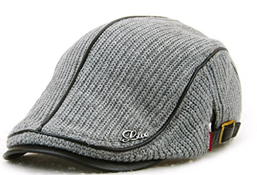 Flat Scally (MOTINE Men's Knitted Wool Driving Duckbill Hat Warm Newsboy Flat Scally Cap(Grey02))