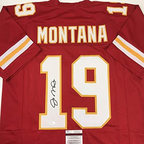 1ccd8e70292 San Francisco 49ers memorabilia. Autographed Signed Joe Montana Kansas City  Red Football Jersey JSA COA