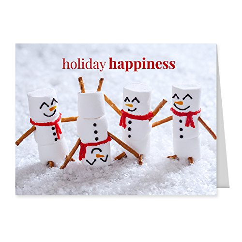 Marshmallow Snowmen Holiday Card Pack  Set of 25 cards  1 design versed inside with envelopes