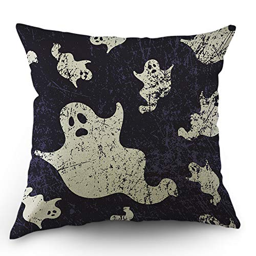 Moslion Skull Pillow Case Halloween Ghosts Spirit in Doodle Throw Pillow Cover 18x18 Inch Cotton Linen Decorative Square Cushion Cover for Valentine's Day Sofa Bed Purple White ()