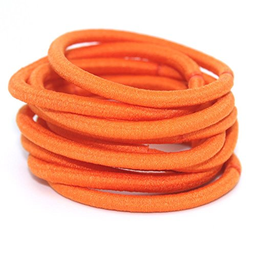 - La Tartelette 4 mm Elastic Bands Hair Ties Children Rubber hair headbands - 10 Pcs (Orange)