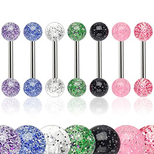 7 - 316L Surgical Steel 14 Gauge 5/8 Inch Barbell with 6mm Acrylic Color Ultra Glitter Ball T223