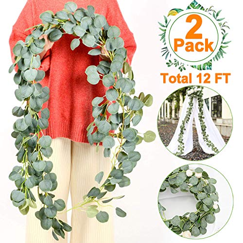2 PCS Artificial Eucalyptus Garland-Total 12Ft Artificial Greenery Garland Plants Eucalyptus Leaves Faux Silk Hanging Vines Wreath for Wedding Party Wall Home Decor Outdoor Backdrop Flower Arrange
