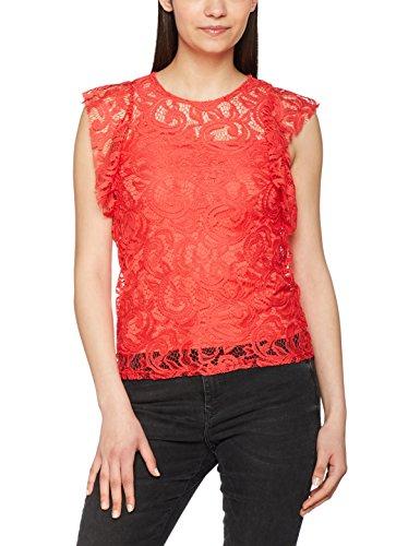 Vero Moda Vmthea Lace Top Jrs Boo, Camiseta sin Mangas para Mujer Rosa (Hibiscus)
