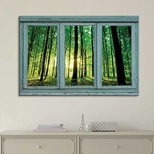 Vintage Teal Window Looking Out Into a Greenery Forest