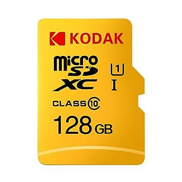 Grborn Tarjeta de Memoria Kodak Micro SD Tarjeta de Memoria de 128GB TF Class10 C10 U1 Velocidad rápida