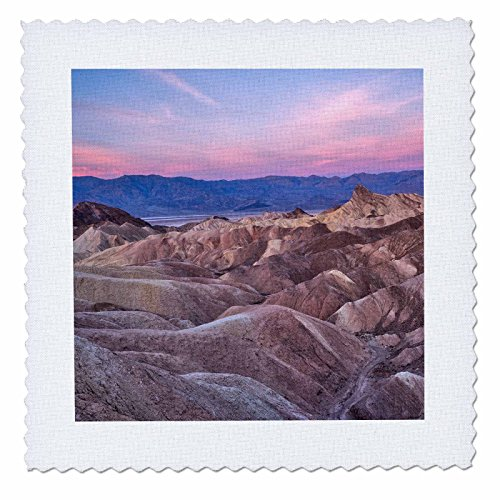 - 3dRose Danita Delimont - Deserts - USA, California, Death Valley. Sunrise over Zabriskie Point. - 25x25 inch quilt square (qs_278595_10)