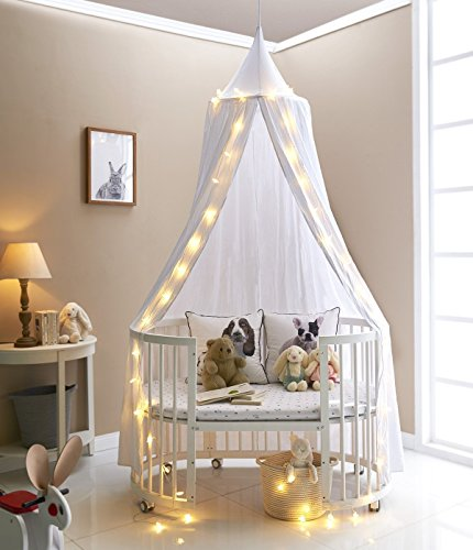 A LOVE BRAND 94.5×19.6 Inch Bed Canopy Cotton Mosquito Net for Kids,White