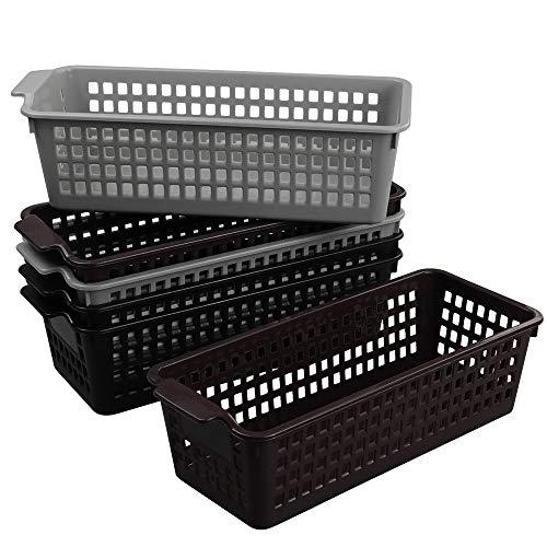HOMMP 6-Pack Slim Plastic Storage Organizer Tray Basket, 11.57 x 4.96 x 3.42