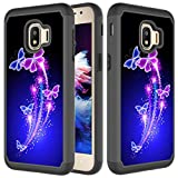 CASE4YOU Bumper Case for Samsung Galaxy J2 Core J260, Galaxy J2 2019/ J2 Dash/ J2 Pure/ J2 Shine, High Impact Cover Shockproof Protection 2 Layers Heavy Duty Tough Defender Blue Butterfly Back Cover