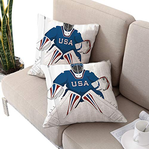 Sports Decor Collection Square Square Cushion Case ,Team USA Hockey Goalie Protection Jersey Sportswear Illustrations Design Print Burgundy Blue White Cushion Cases Pillowcases for Sofa Bedroom Car ()