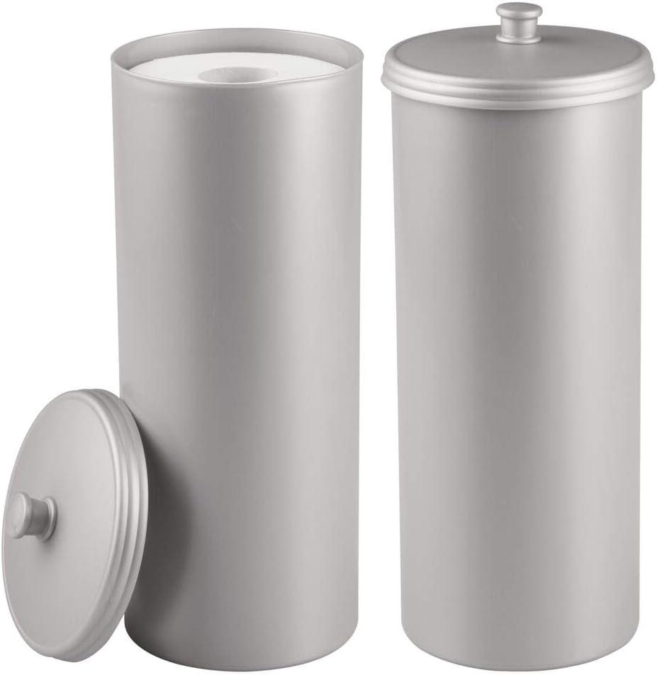 White 2 Pack Hold 3 Rolls mDesign Plastic Toilet Tissue Paper Holder Canister