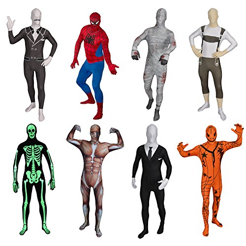 FUNSUIT Glow Skeleton Bodysuit Halloween Costume Size S / M / L / XL / XXL [XL] (Glow In The Dark Skeleton Suit)