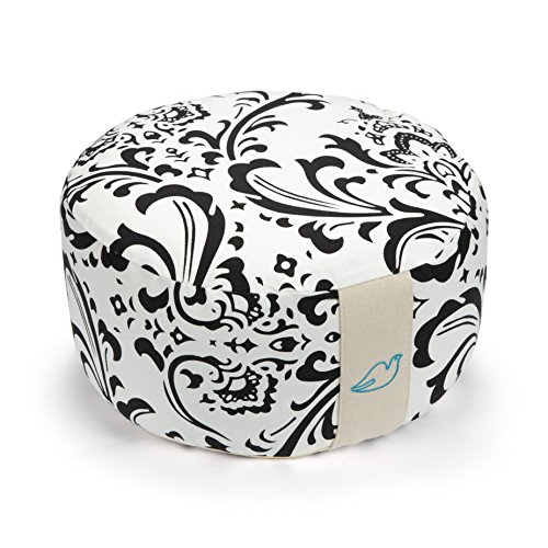 Blue Dove Yoga Round Meditation Cushion made from GOTS Certified Organic Cotton Black and White Print