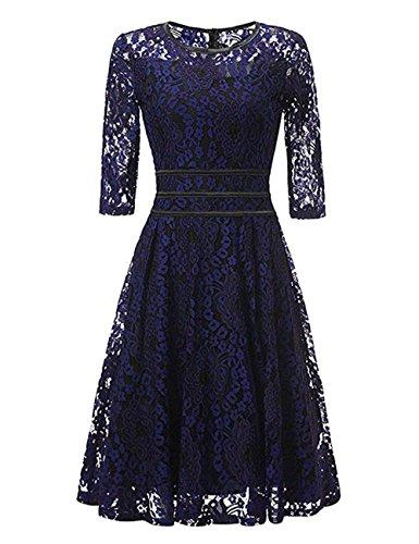 VKStar - Vestido - Noche - Floral - Cuello redondo - Manga Larga - para mujer Azul