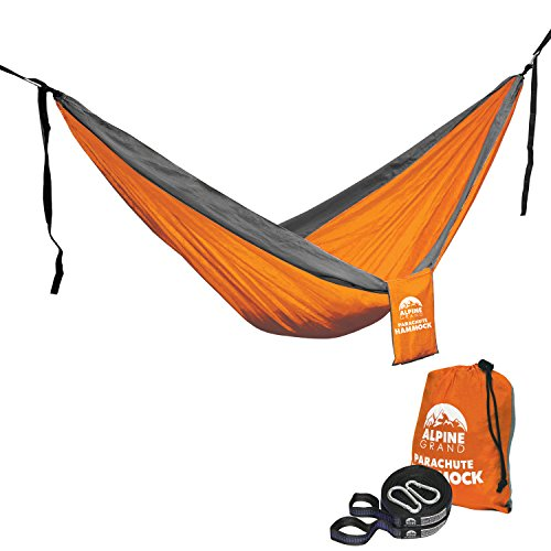 Alpine Grand Premium Lightweight Portable Parachute Hammock – TWO FREE HANGING STRAPS WITH FLAT LOOP DESIGN - GREAT FOR Camping, Backpacking, Hiking, Yard, Beach, Boat Dock, Park (Orange/Gray, - Used Be Sunglasses For Can Eclipse