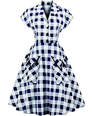 Tempt me Women's Vintage 1950s Cap Sleeve Plaid Swing Dresses with Pocket