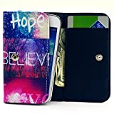 zte blade l2 phone cases - ZTE Blade L2 Case,Universal Wallet Clutch Bag Carrying Flip Leather Smartphone Case with Card Slots for ZTE Blade L2 5.0 Inch-Hope Believe Love Galaxy Rainbow Style