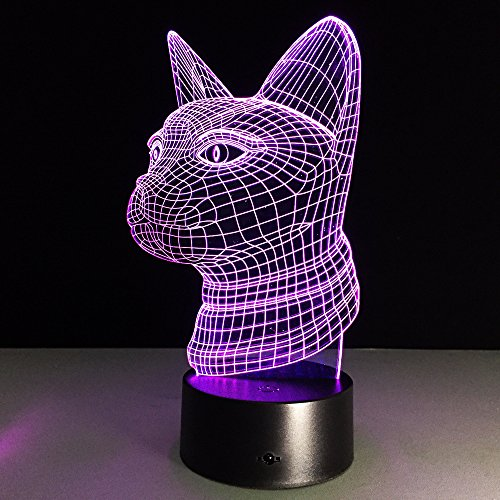 Circle Circle Cat Head 3D Optical Illusion Desk Lamp 7 Colors Change Touch Button and 15 Keys Remote Control Nightlight Produces Unique Visualization Lighting Effects Art Sculpture Light