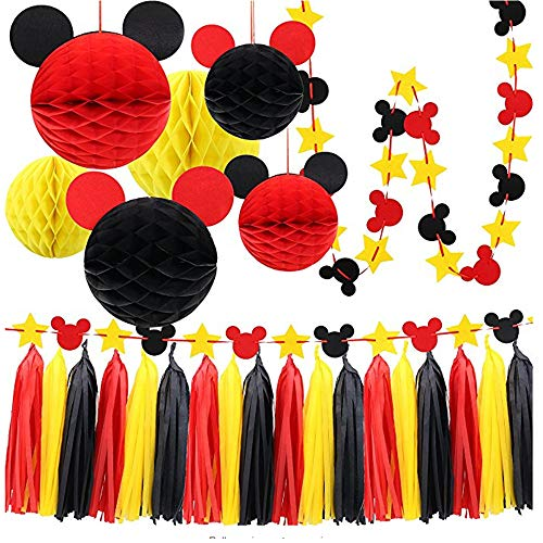 Mickey Paper Honeycomb Balls, Red Yellow and Black Tassel Garland Tissue Felt Banner Kids Birthday Themed Party Ideas Classroom Decoration