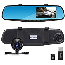 """THINK SOGOOD 4.3"""" LCD HD 1080P Car Video Camera   Driving Recorder with Dual Lens for Vehicles Front & Rear View Mirror   DVR Vehicles with 170° Wide Angle Lens and G-Sensor(Include 8G Micro SD Card)"""