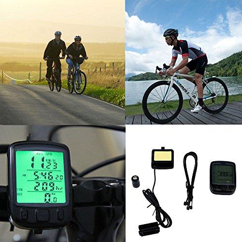 Fineser Wired Bike Computer Speedometer Waterproof Bicycle Odometer Cycle Computer with Backlight Digital LCD Display