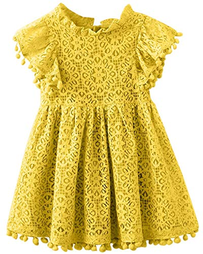 2Bunnies Girl Vintage Lace Pom Pom Trim Birthday Party Dress (Mustard, 6)