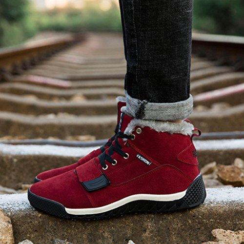 GefüTterte Outdoor Winter Oyedens Gefüttert interschuhe Winterstiefel Rot Stiefelette Winterschuhe Boots Warm Schneestiefel Stiefel Warm Herren xprq7pI