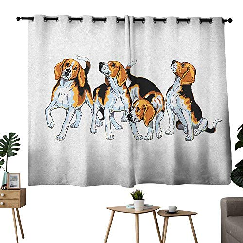 Beagle Decor Curtains Four Beagle Hounds Siblings Playing Foxhound I Love My Dog Breed Theme Set of Two Panels 72
