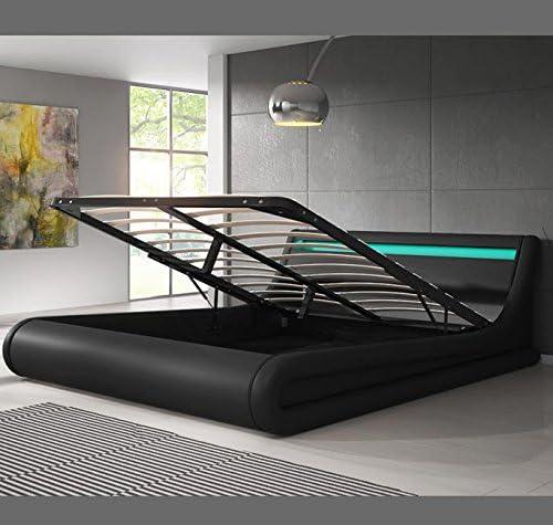 muebles bonitos Cama canapé abatible de Matrimonio Moderna Parisina con somier de láminas para colchón de 150x190cm Negro diseño Italiano con LED ...