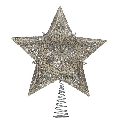 Kurt Adler 13.5-inch Star Treetop with Ivory Pearls and Platinum G Deal (Large Image)