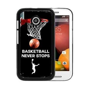 RCGrafix Brand Basketball Never Stops Motorola Moto E Cell Phone Protective Cover Case - Fits Motorola Moto E wangjiang maoyi