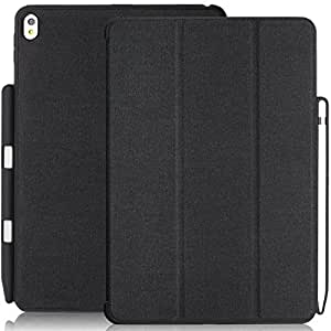 KHOMO iPad Pro 10.5 Inch Case with Pen Holder - DUAL Black Super Slim Cover with Rubberized back and Smart Feature (sleep / wake ) For Apple iPad Pro 10.5 Inches Tablet