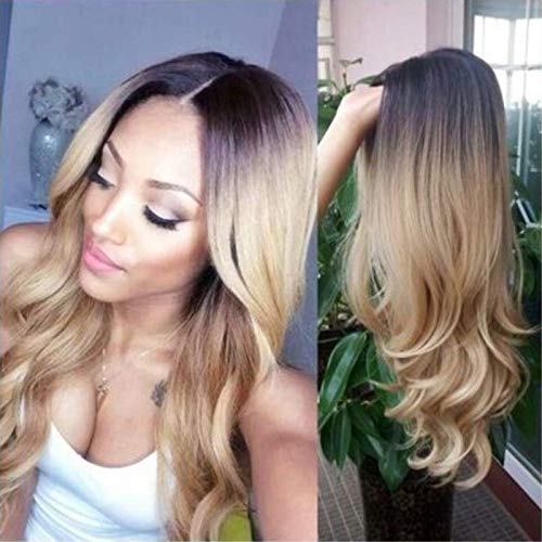 FidgetFidget Women Hair Wigs for Long-haired Ombre Mixed Highlight Beyonce Style Wavy -