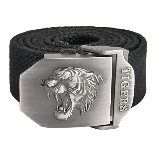 Faleto Mens Canvas Web Military Belt Outdoor Tactical Danger Tiger's Head Buckle Thicken Belts (Tiger Buckle)