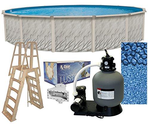 2-Inch Round Above-Ground Swimming Pool Complete Bundle Kit | Boulder Swirl Pattern Overlap Liner | A-Frame Ladder System | Filter Tank | 0.75-HP Pump | Wide-Mouth Skimmer ()