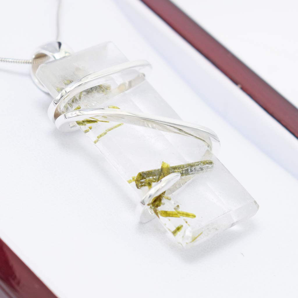 Epidote Quartz Pendant Necklace by Stones Desire