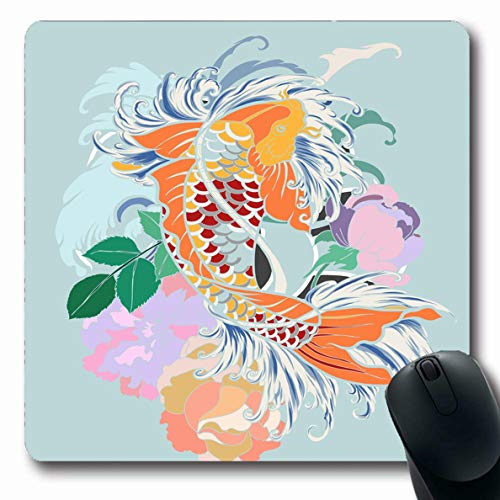 (LifeCO Computer Mousepad Carp Watercolor Abstract Scarf Koi Fish Flower Asian Black Design Lotus Oblong Shape 7.9 x 9.5 Inches Oblong Gaming Non-Slip Rubber Mouse Pad Mat )