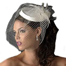 SIQINZHENG Women's Vintage Short Blusher Bridal Hat Birdcage Wedding Veil