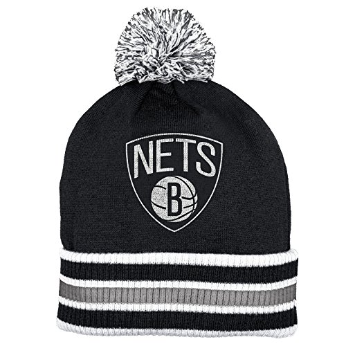 Brooklyn Nets Double Sided Striped Cuff Pom Knit Beanie Hat / ()