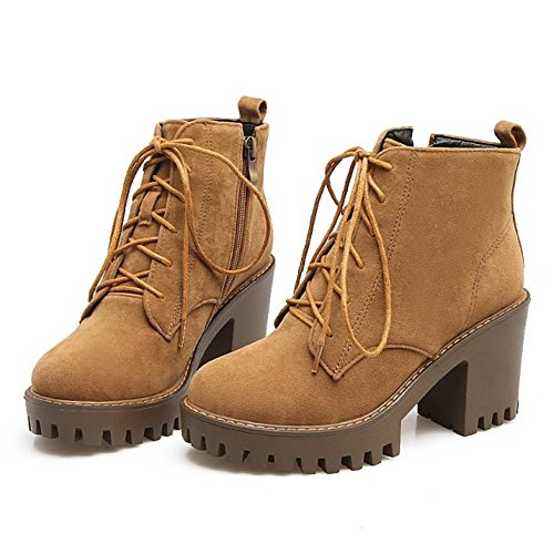 Booties TAOFFEN Yellow Zipper Boots Women's With 5RCCzqnFw