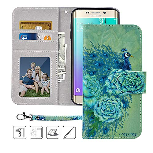 Galaxy S6 Wallet Case, Galaxy S6 Case, MagicSky Premium PU Leather Flip Folio Case Cover with Wrist Strap,Card Holder, Cash Pocket, Kickstand for Samsung Galaxy S6 (Green Peacock)