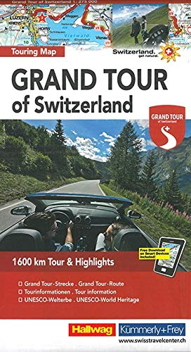 Switzerland the Grand Tour - Touring Map L2019: HKF.120 (English, French, Italian and German Edition)