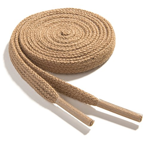 OrthoStep Cotton Flat Dress Thin 24 inch Tan Shoe laces 2 Pair Pack