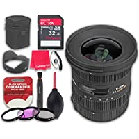 Sigma 10-20mm f/3.5 EX DC HSM ELD SLD Aspherical Super Wide Angle Lens for Canon with 32GB Ultra Pro Speed Class 10 Memory Card + 3pc Filter Kit (UV-FLD-CPL) + Deluxe Sleeve - International Version