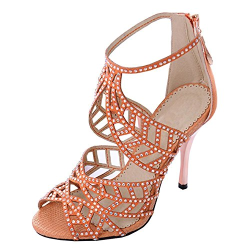 YUMiiiooo Popular Crystal Studs High Heel Sandals Peep Toe Strappy Sandals Party Pumps Evening Dress Shoe Orange US Size 8 (Party Store Burlington Vt)